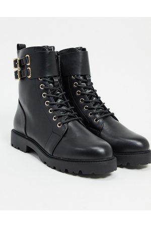ASOS Adele hardware lace up boots in black