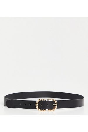 Glamorous Exclusive waist and hip jeans belt in black with twisted metal buckle in gold