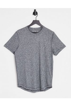 Abercrombie & Fitch Curved hem t-shirt with hip logo in grey marl