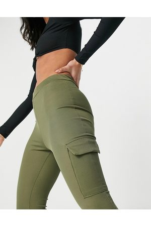 I saw it first Ribbed cargo joggers in khaki-Green