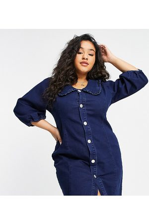 Glamorous Denim mini dress with frill collar and popper front-Blue