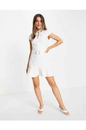 Morgan Belted skater mini dress with cap sleeve in ivory-White