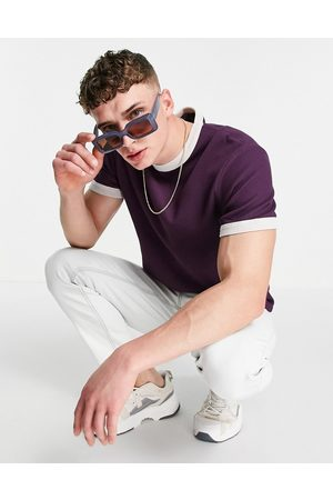 ASOS Waffle t-shirt with contrast trim in dark purple