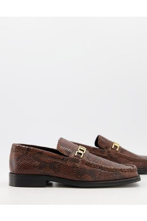 ASOS Loafers in brown snake leather with square toe and snaffle