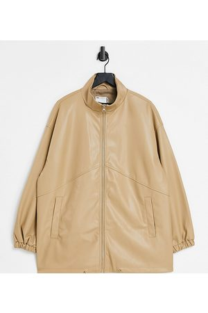 ASOS Curve faux leather bomber jacket in camel-Grey