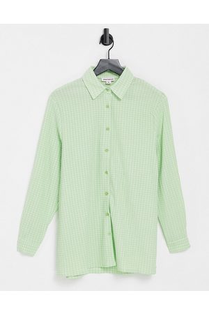 Urban Threads Oversized checked shirt in green-Multi