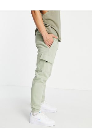 New Look Jersey cargo joggers in green