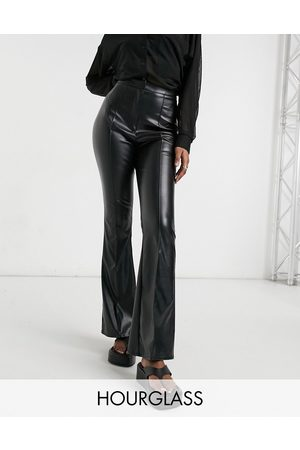 ASOS Hourglass jersey leather look kickflare trousers in black