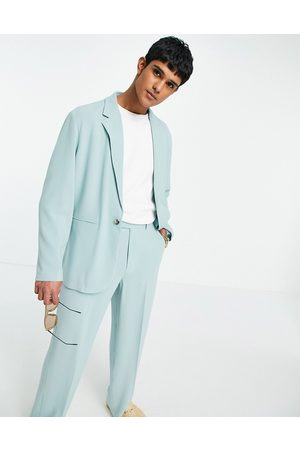 ASOS Soft tailored relaxed oversized suit jacket in pastel green crepe
