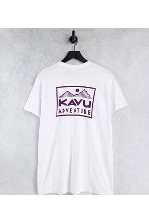 Kavu Adventure back print t-shirt in white Exclusive at ASOS