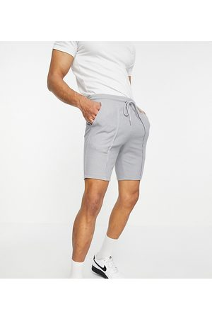 ASOS Co-ord skinny shorts in waffle with pin tucks in grey