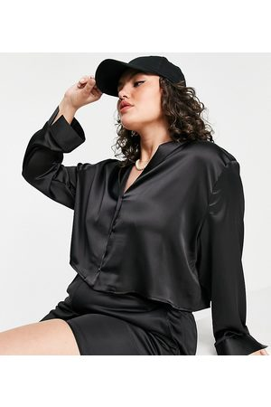 Flounce London Cropped long sleeve satin shirt co-ord in black