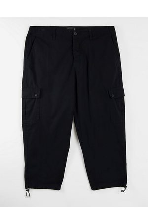 ASOS Oversized tapered cargo trousers in black
