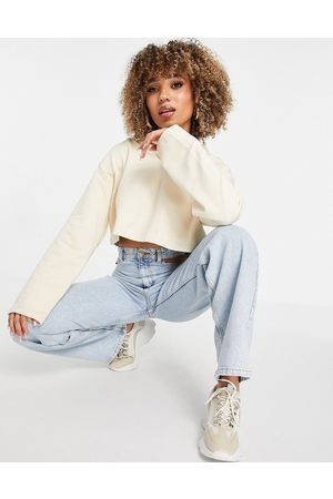 NA-KD Organic cotton co-ord cropped hoodie in beige-Brown