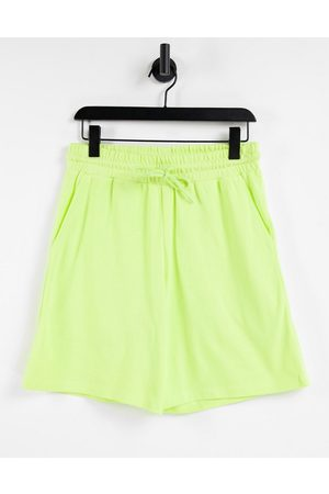 ASOS Erkek Şortlar - Co-ord oversized pique shorts in washed out lime-Green