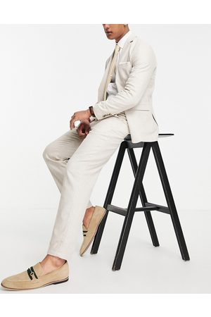 Selected Homme Slim tapered linen blend suit trousers in beige-Neutral