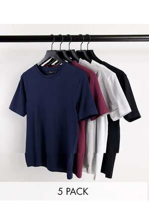 ASOS 5 pack Organic cotton blend muscle fit t-shirt with crew neck-Multi