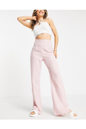 NaaNaa High waisted split hem tailored dogtooth trousers in pink