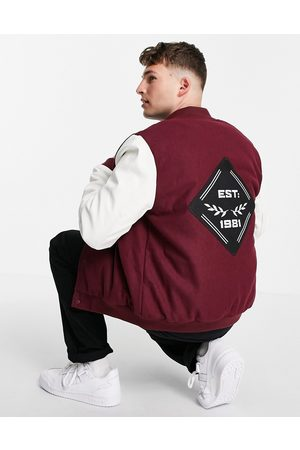 ASOS DESIGN Varsity bomber jacket with faux leather sleeves in red and white