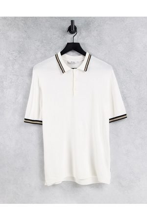 Only & Sons Knitted polo shirt with tipping in white
