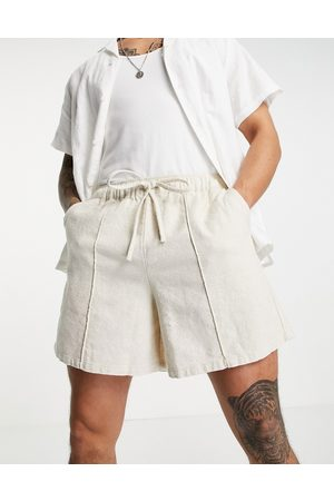 ASOS Linen mix wide shorts with pin tuck-Neutral