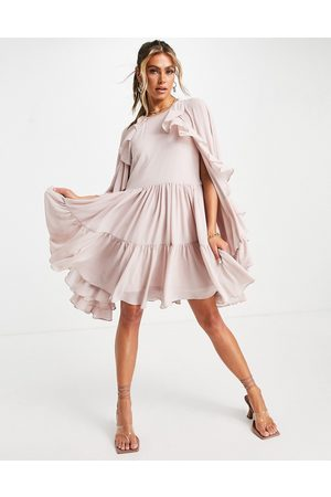 TFNC Tiered mini swing dress with cape detail in mink-Pink