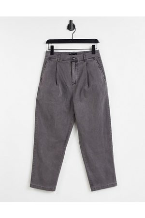 ASOS DESIGN Wide leg trousers with pleats in charcoal-Grey