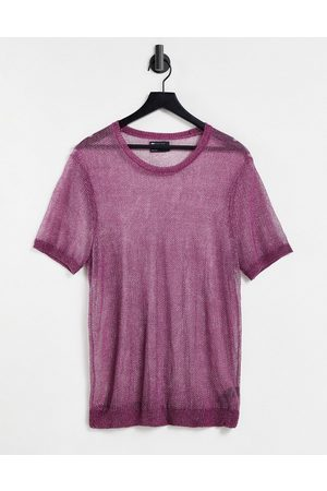 ASOS DESIGN Knitted co-ord metallic t-shirt in purple