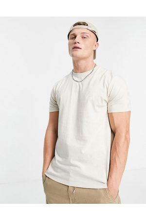 New Look Organic cotton NLM embroidered t-shirt in stone-Neutral