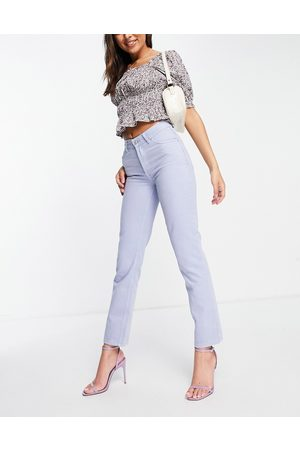 ASOS Mid rise '90's' straight leg jean in lilac-Blue