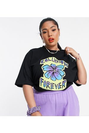 COLLUSION Plus exclusive forever flower oversized t-shirt in black