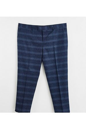 River Island Big & Tall skinny suit trousers in navy check