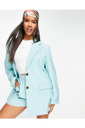 ASOS Soft crinkle single breasted dad blazer in mint-Green