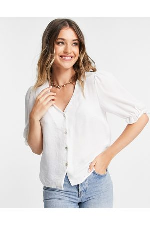 New Look Button through blouse with sleeve detail in off white