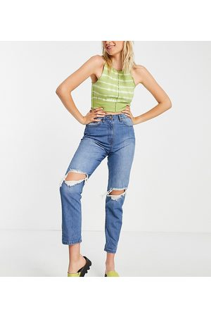 Parisian Ripped mom jeans in mid blue