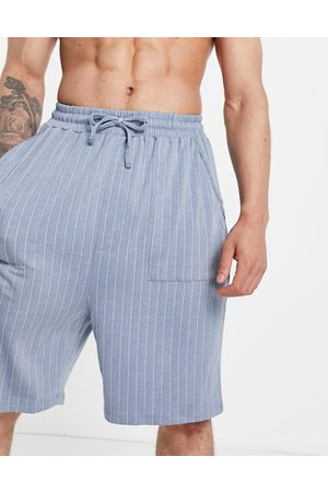 ASOS Lounge shorts in striped blue and white