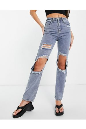In The Style X Olivia Bowen distressed denim straight leg jean in washed blue