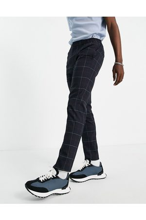 River Island Smart joggers in navy & red check