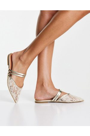 ASOS Lesley pointed ballet flats in gold metallic