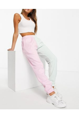 Chelsea Peers Kadın Jogger Pantolon - Lounge half and half joggers with tie waist in pink and green-Multi