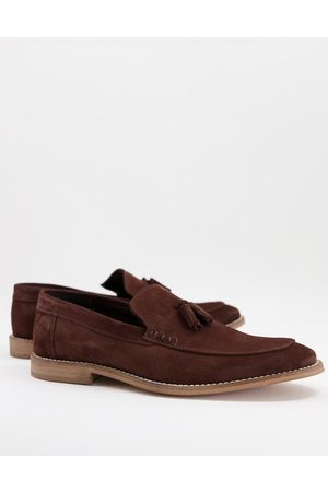 ASOS Loafers in brown suede with tassel on natural sole