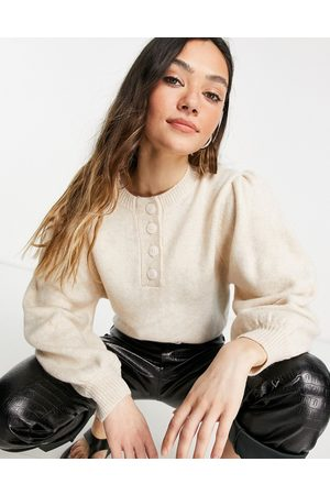 ASOS Jumper with button placket in oatmeal-Neutral