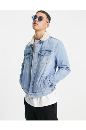 River Island Denim jacket with borg collar in blue