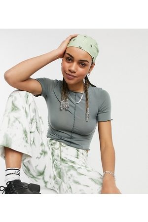 Collusion Crop fitted t-shirt with seam detail in charcoal-Grey