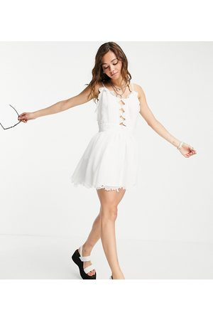 Reclaimed Inspired couture beach mini dress with lace and embroidery detail-White