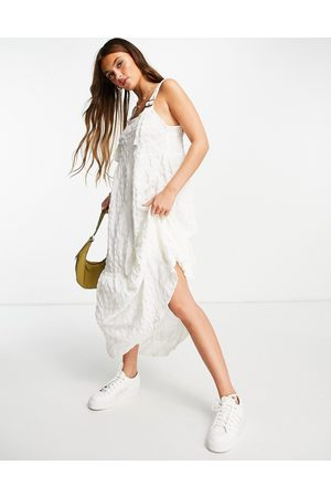 ASOS Dungaree midi sundress in bubble texture in white