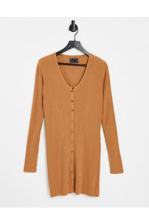 ASOS Knitted rib mini dress with button through in camel-Neutral