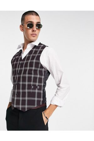ASOS Skinny suit waistcoat with window check in burgundy-Red