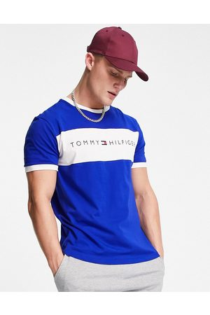 Tommy Hilfiger Lounge t-shirt with chest panel logo in blue