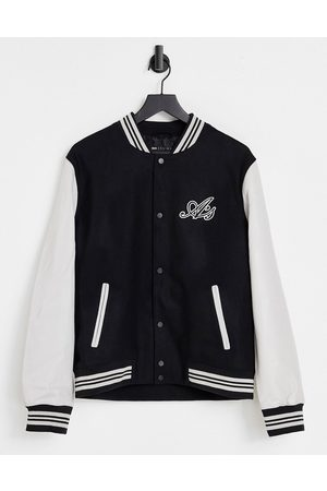 ASOS Varsity jacket in black with leather sleeves and badging